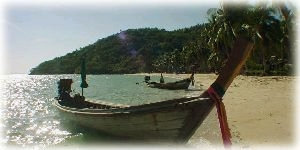 Long Tail boat on the beach of Phi Phi Island
